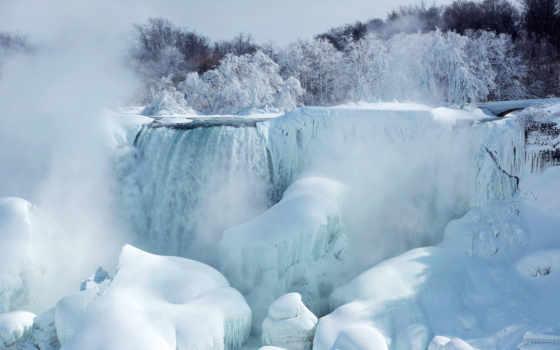 winter, водопад, природа