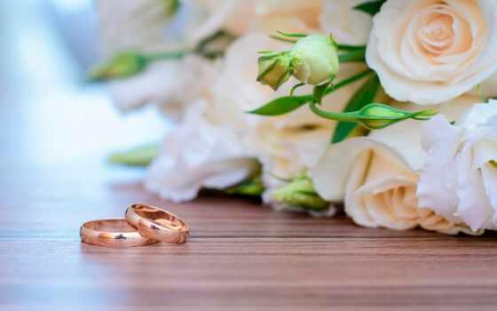 ринг, свадебный, букет, цветы, anniversary, роза, postcard, white