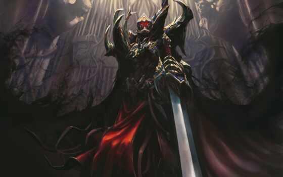 демон, рыцарь, красивый, арта, доспех, бросок, хмурый, castle
