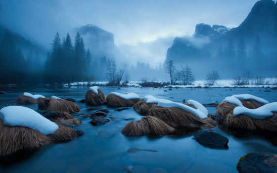 merced, river, yosemite, nature, national, miles, california, winter, landscapes, since,