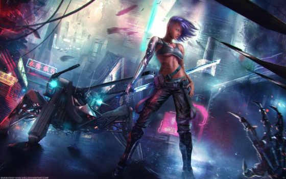 sci, девушка, cyberpunk, воин, art, more, see,