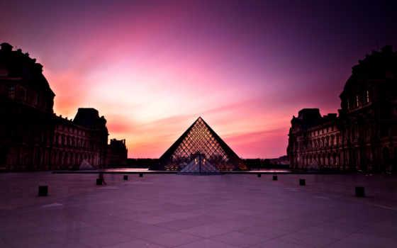 louvre, париж, франция, пирамида, город, museum,