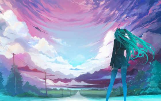 summer, бесконечное, miku, небо, девушка, oblaka, волосы, hatsune, дорога,