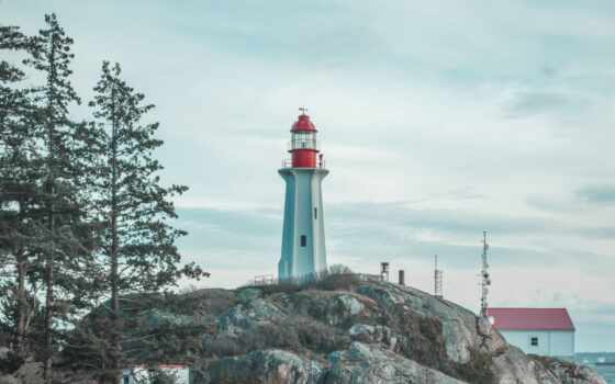 lighthouse, vancouver, park, west, фотограф, rock, близко, канада, white