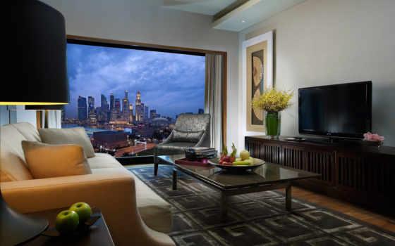 интерьер, design, стиль, комната, диван, бежевый, окна,