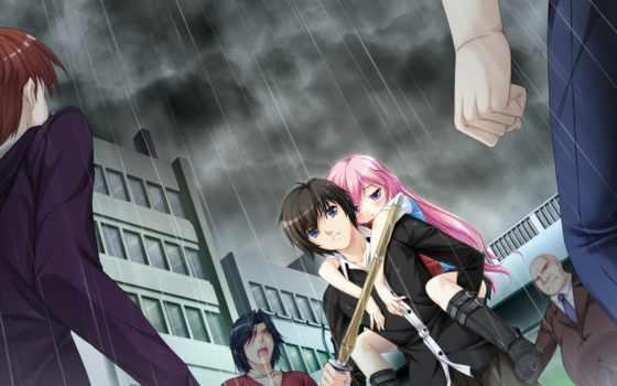 anime, девушка, парень, угроза, devushki, attack, меч, взгляд, protecting,