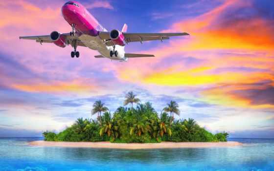самолёт, со, пассажирский, самолеты, высоту, пролетающий, набирающий, летит, островом,
