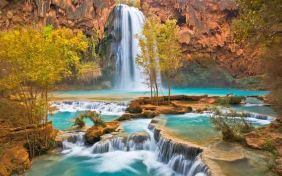 водопад, falls, havasu, скалы, trees, arizona, осень, дек, карте,