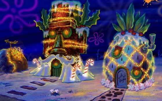 год, new, spanchbob, песочница, christmas, боб, squarepants, spongebob, губка