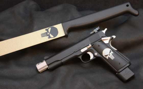 punisher, colt, pistol, нож, акпп, золотистый, ковёр, sake, logo, пистолет, customization, 1911