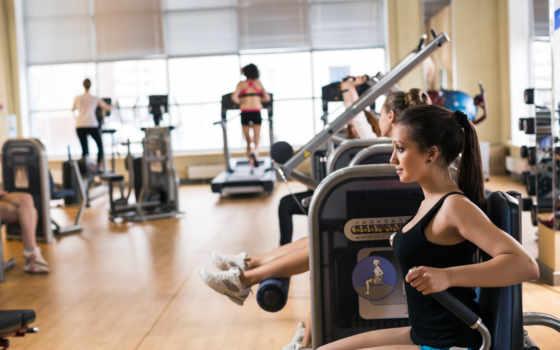 тренировочный, фитнес, class, hall, спортзал, коллекция, который, молодой, женщина, спорт