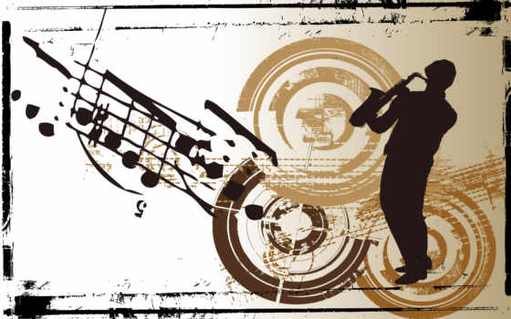 саксофон, человек, силуэт, ноты, шляпа, рамка, картинка, vector, имеет, горизонтали, minus, рисунки, вертикали, играет, саксофоне,