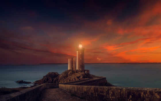 lighthouse, закат, jpeg