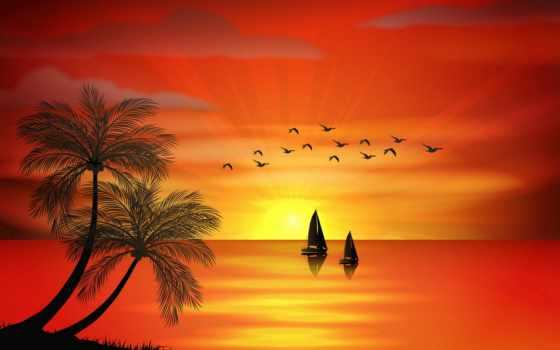 море, пальмы, закат, креатив, графика, art, tropics,