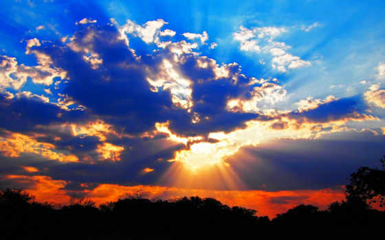 rays, sun, clouds, сквозь, shining, setting,