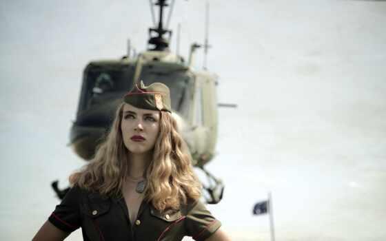 девушка, армия, fate, вертолет, побережье, солдат