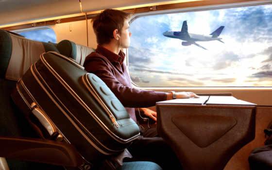 багаж, парень, иллюминатор, самолет, поездка, красивый, просто, мальчик, plane, travel,