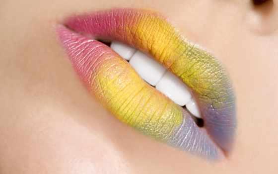 разноцветные, губы, помада