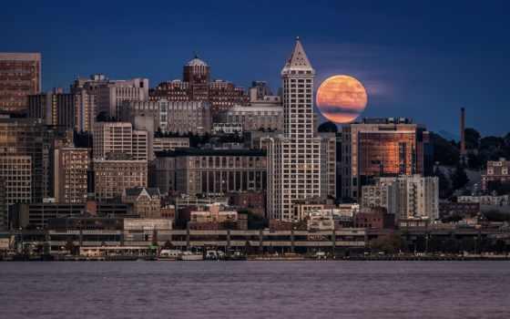 ночь, луна, seattle