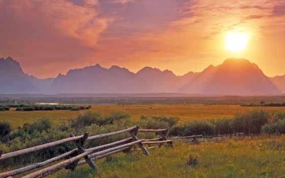 закат, поле, красивые, природы, вечер, дек,