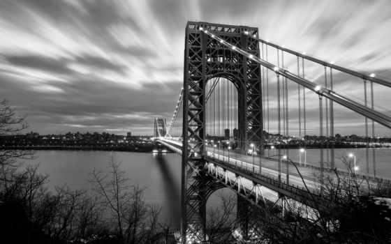 нью, york, город, new, река, мост,