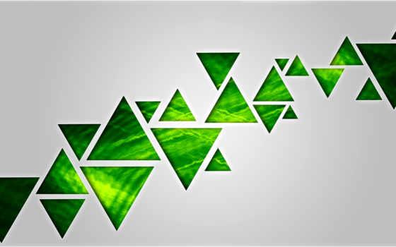 зелёный, треугольник, abstract