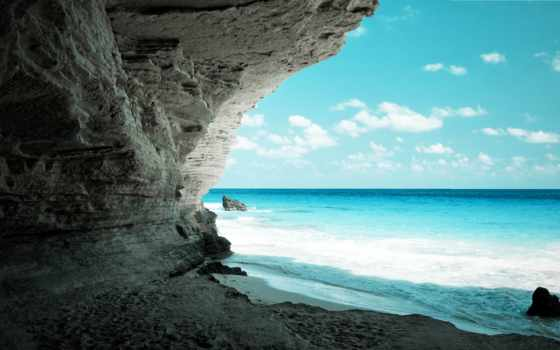 море, скалы, берег, rock, моря, пещера, рай, взгляд, белой, shadow,