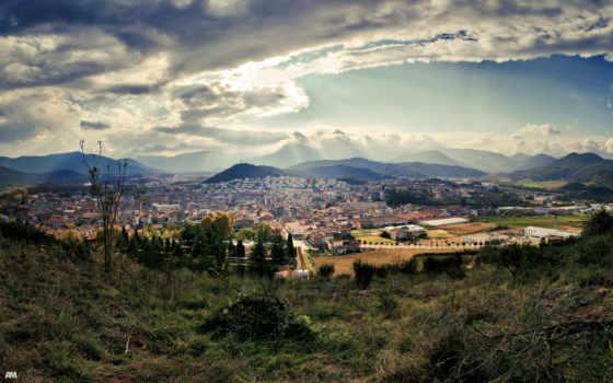 испания, испании, природа, город, landscape, города, высоком, rays, барселона,