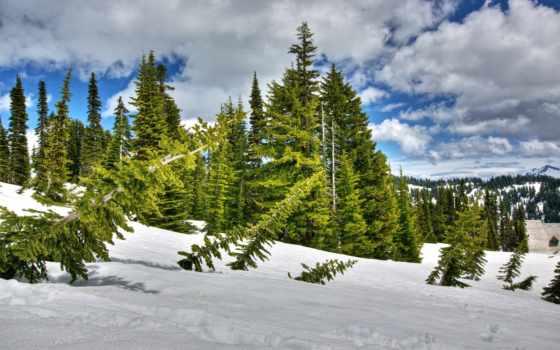 природа, winter, горы, небо,