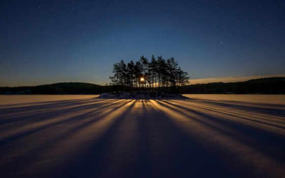 ночь, дерево, снег, небо, winter, природа, shadow