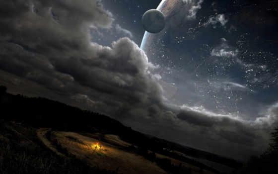 fone, неба, звездного, ночного, pole, костер, небо, разных, разрешениях,