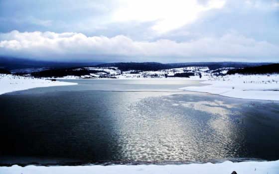 лед, озеро, water