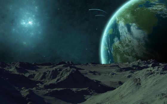взгляд, land, луны, землю, planet, звезды, рельеф, nebula,
