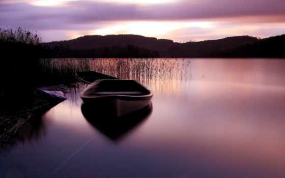 закат, озеро, природа, лодка, peaceful, water, место, фото,