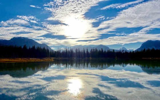 небо, озеро, страница, latest,