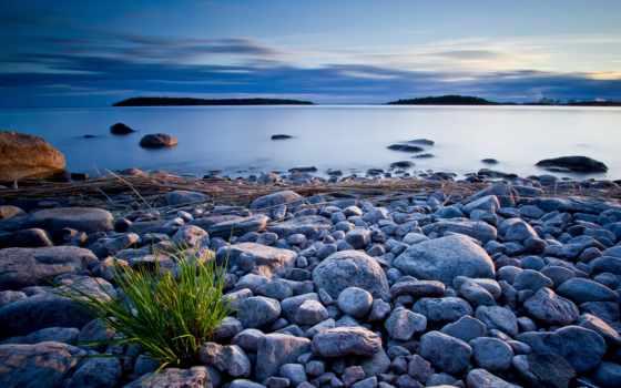 камни, берег, пляж, вечер, море, тучи, небо, озеро, clouds,