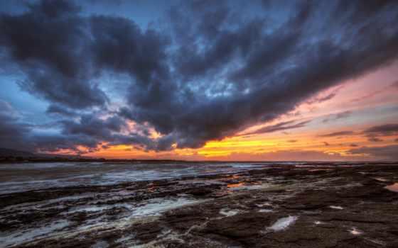 закат, небо, clouds, вечер, ireland, море, скалы, deep, kesovija,