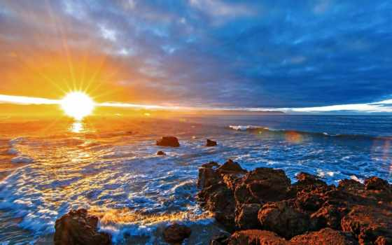 природа, sun, море, закаты, изображение, рассветы, небо, winter,