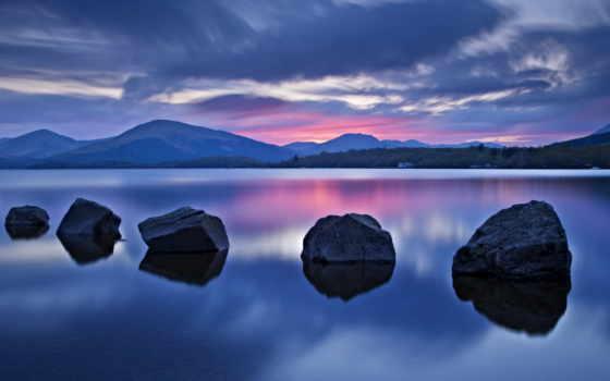 loch, озеро, lodge, ломонд, stable, гор, горы,