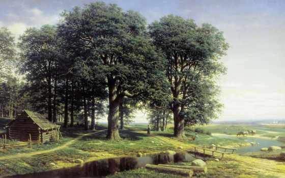 природа, да, early, утром, красивые, grove, mikhail, clodt, дуб, живопись, trees,