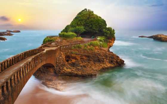 баста, восход, rock, sun, закат, природа, который, biarritz, landscape, песочница