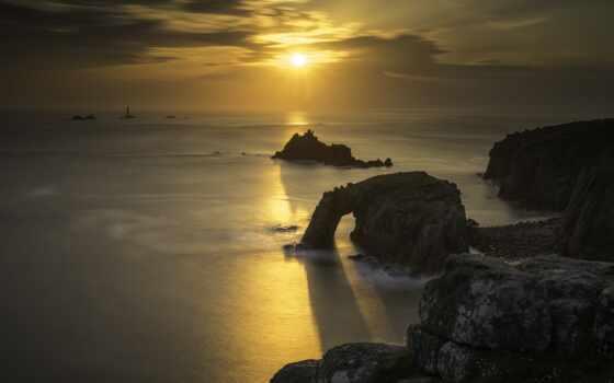 во, coastal, взгляд, ocean, beside, закат, гора