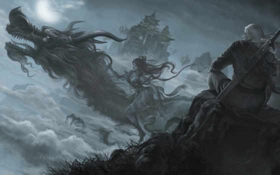 фэнтези, драконы, воители