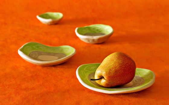 груша, тарелки, плод