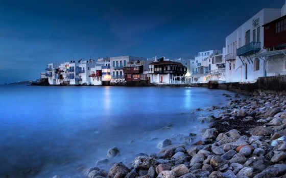 mykonos, greece, ночь