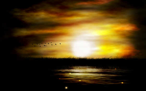 закат, вечер, природа