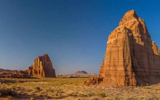 скалы, камни, небо, wasteland, солнечно, тег, всех, трава, которых,