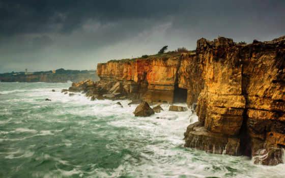 море, скалы, буря, побережье, природа, страница, inferno,