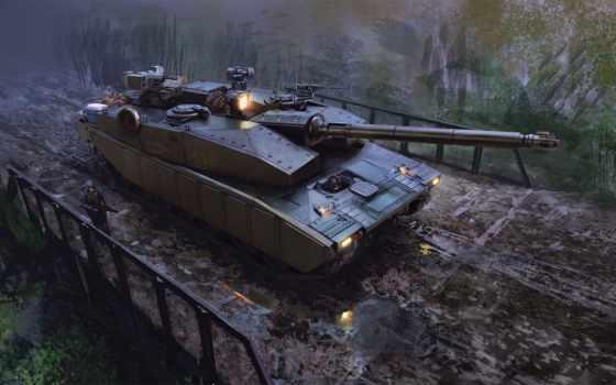 оружие, военный, танк, art, люди, военные, мост, лужи, спецназ, conflict,