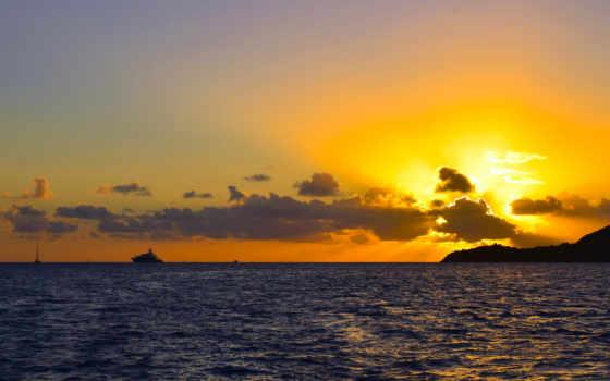 sun, небо, море, цвету, заходящее, collector, oblaka, закат, горизонт,